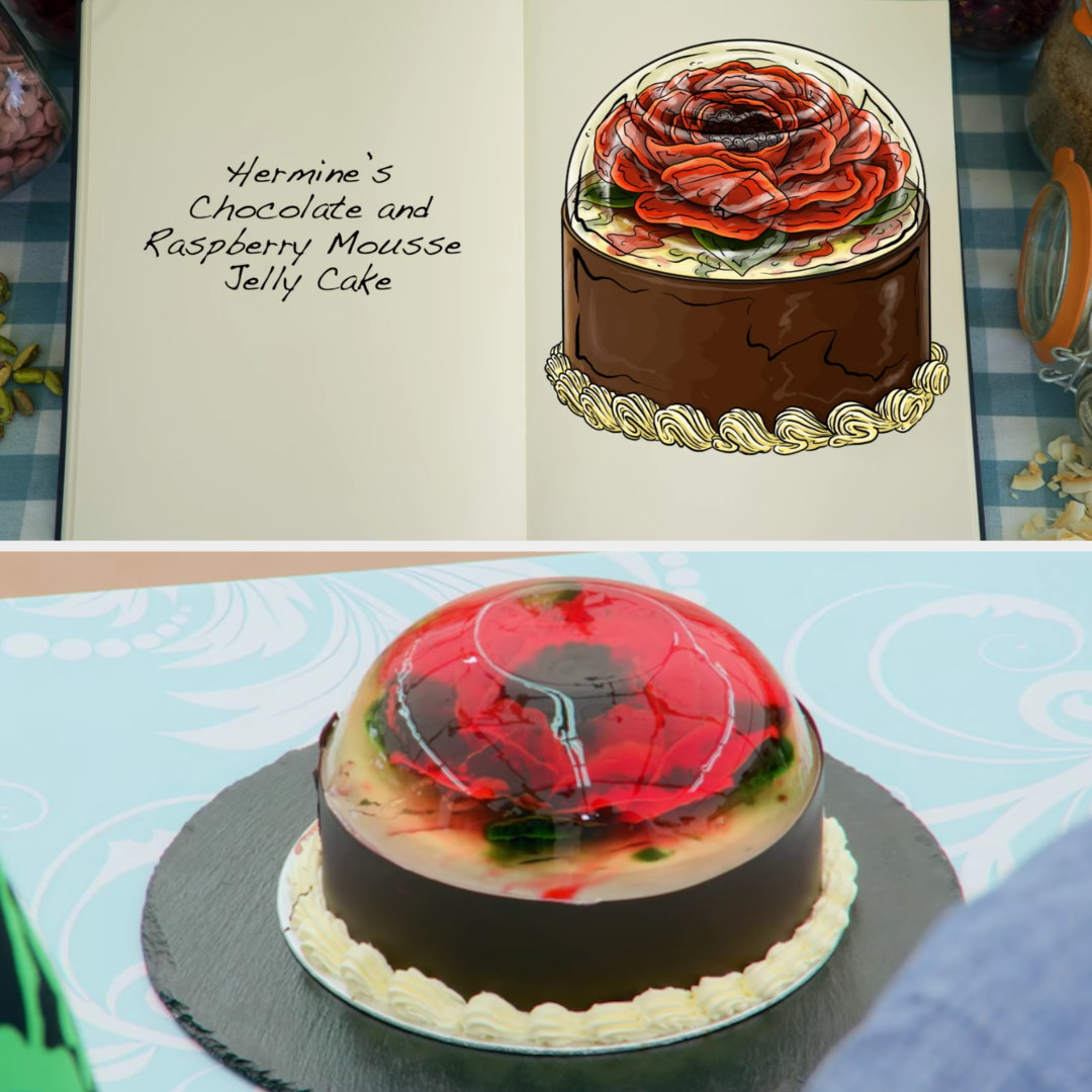 Hermine's floral jelly cake side-by-side with its drawing