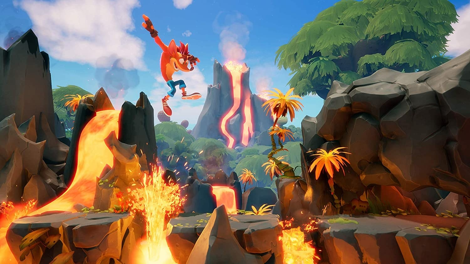 Crash Bandicoot jumping over pits of molten lava