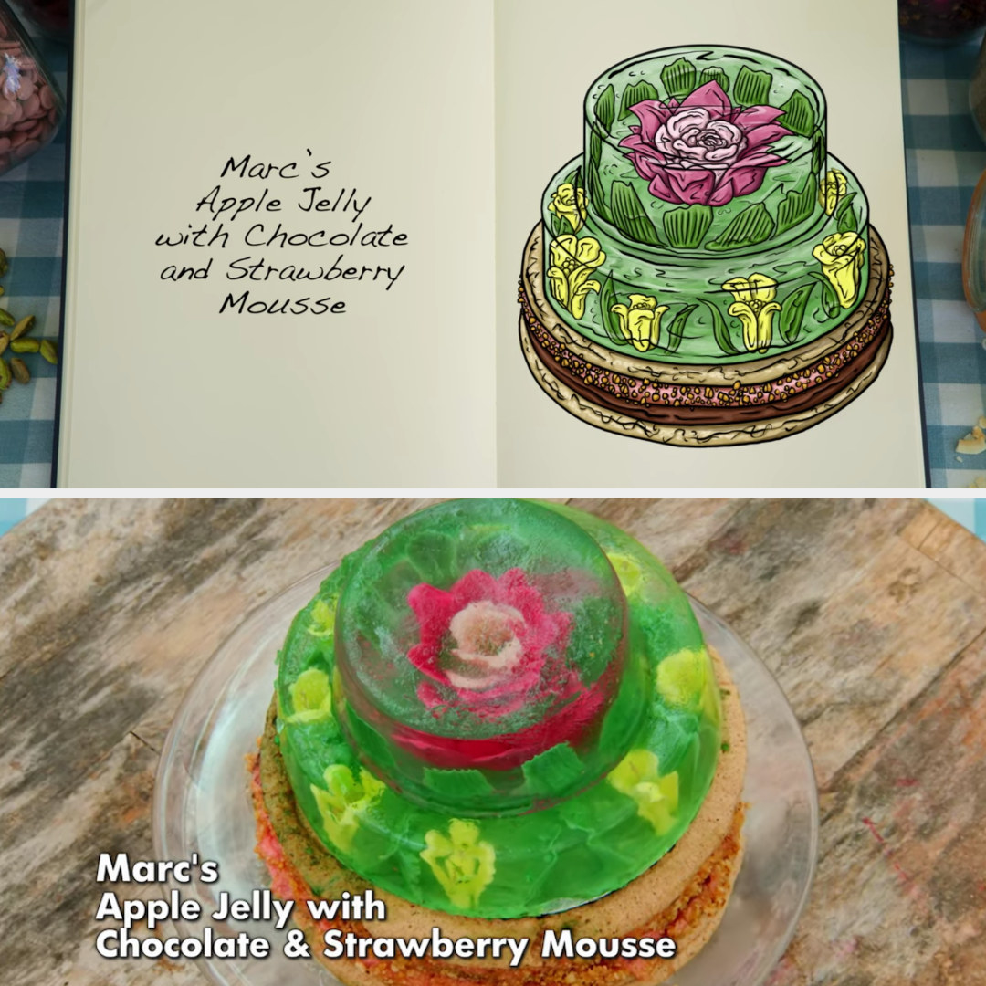 Marc's apple jelly cake side-by-side with its drawing
