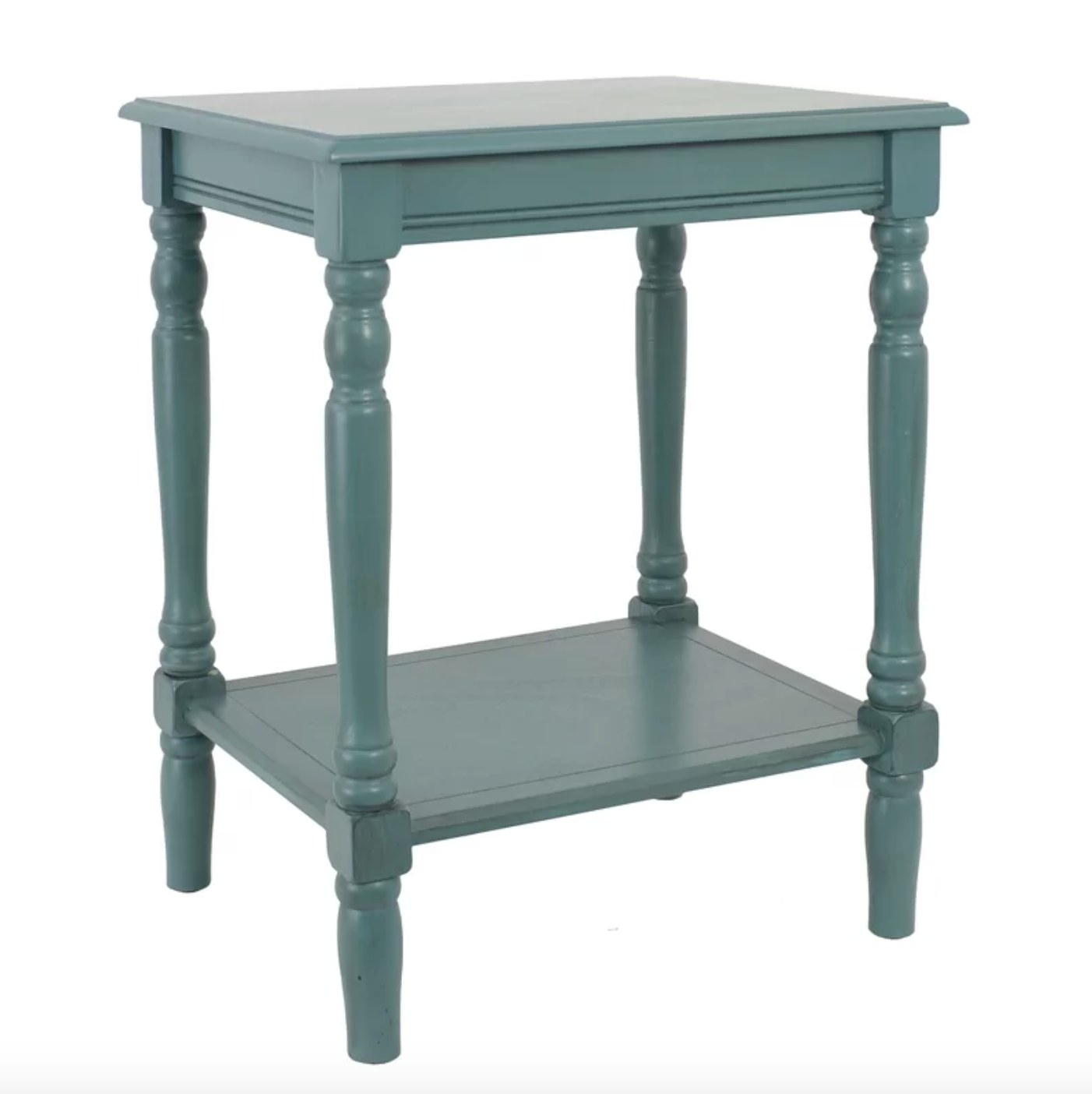 The end table in sea green