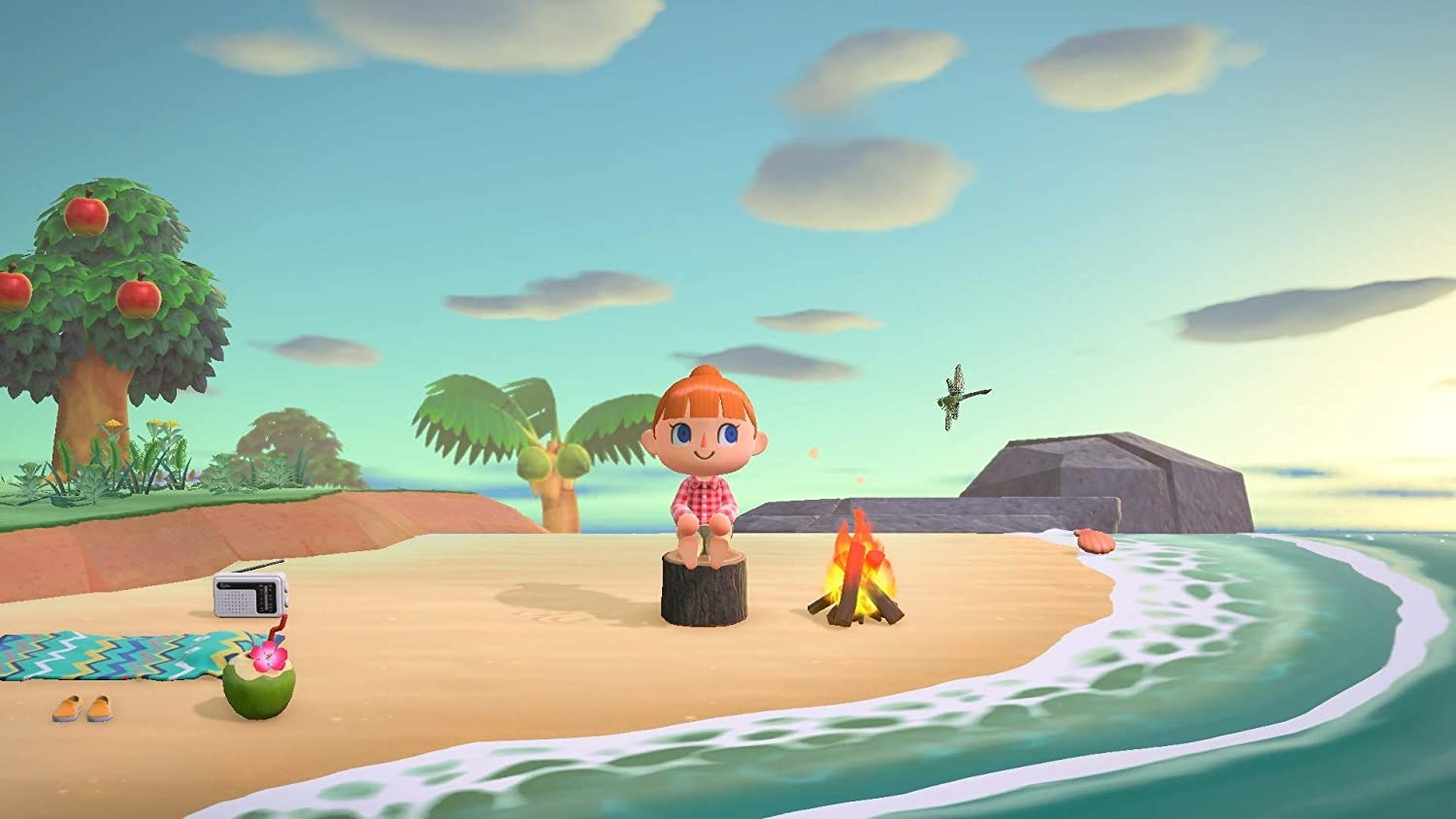 An animal crossing avatar sits happily on a beach next to a bonfire