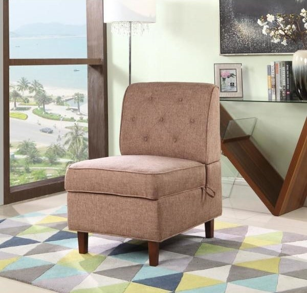 the unbranded brown storage accent chair in a living room