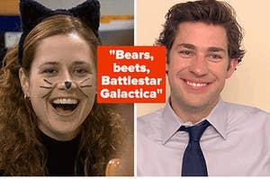 """Jenna Fischer as Pam Beesly and John Krasinski as Jim Halpert in the show """"The Office."""""""