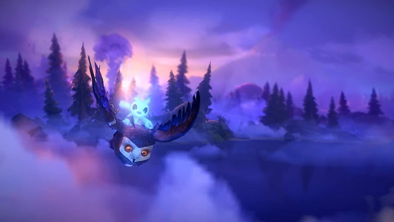 Ori riding an owl through a misty forest
