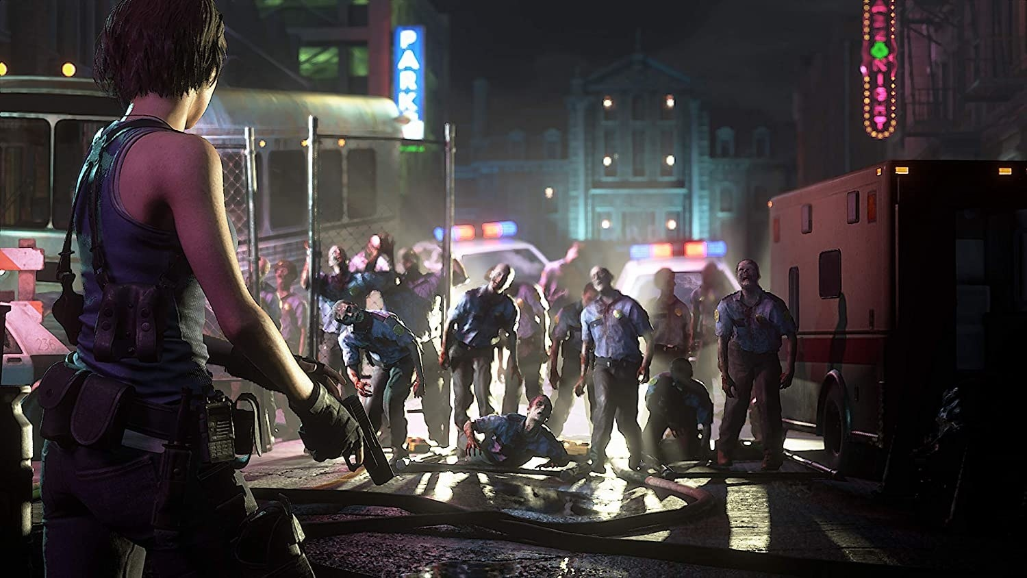 A horde of zombie police officers stumbling in pursuit of Jill