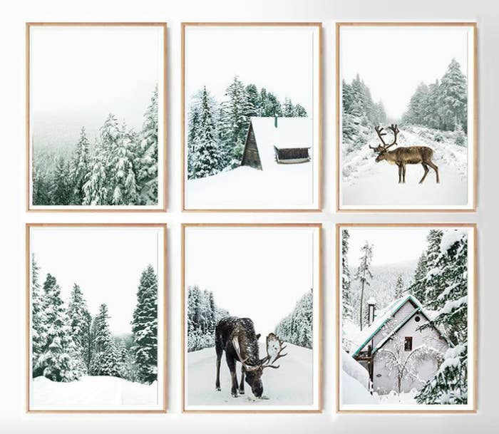 A set of six winter wildlife-themed prints in simple wooden frames