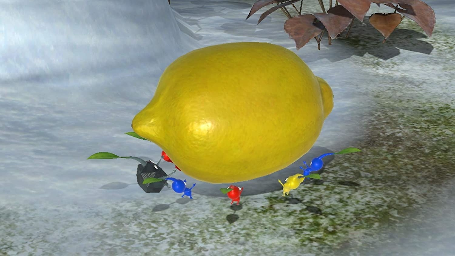A group of small characters surrounding a lemon