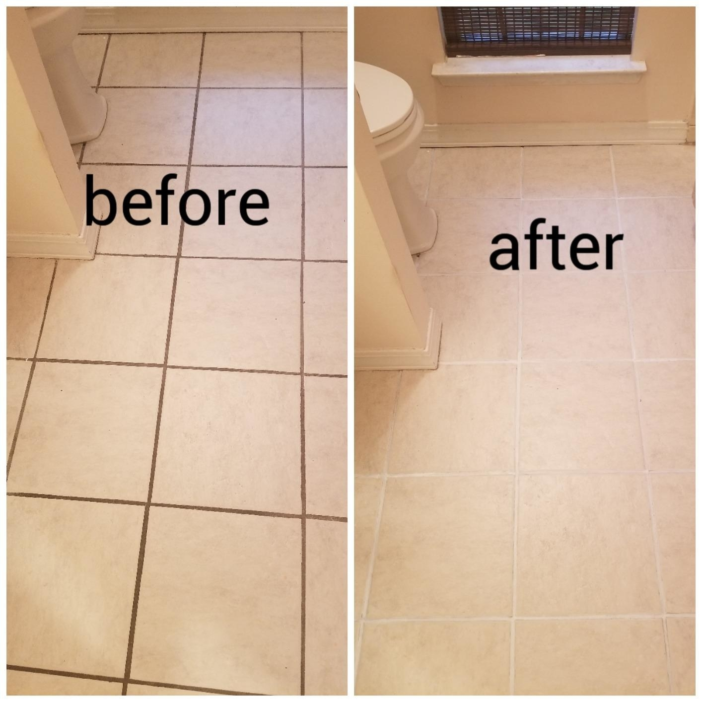 Before shot of tiles with brown grout vs after shot white grout