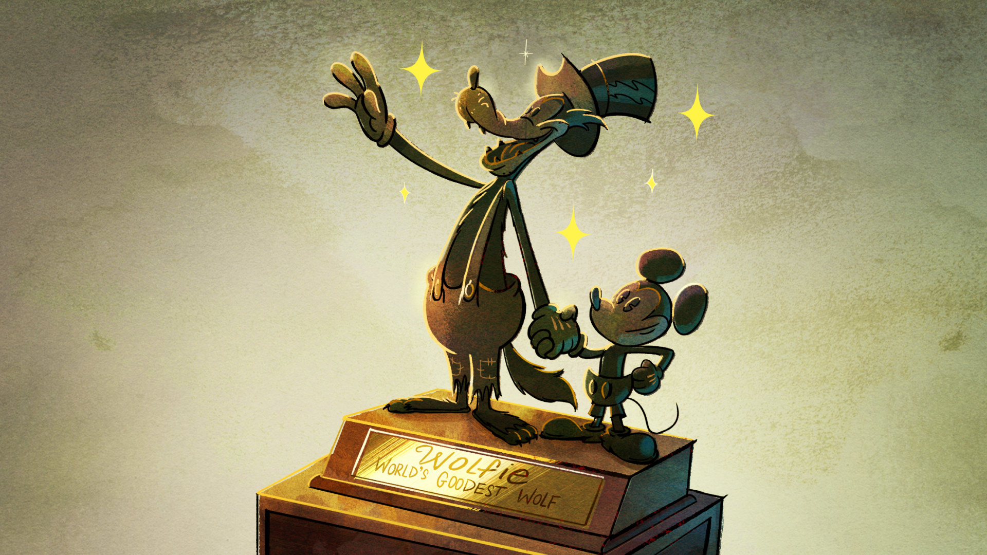 A gold trophy of the Big Bad Wolf and Mickey holding hands