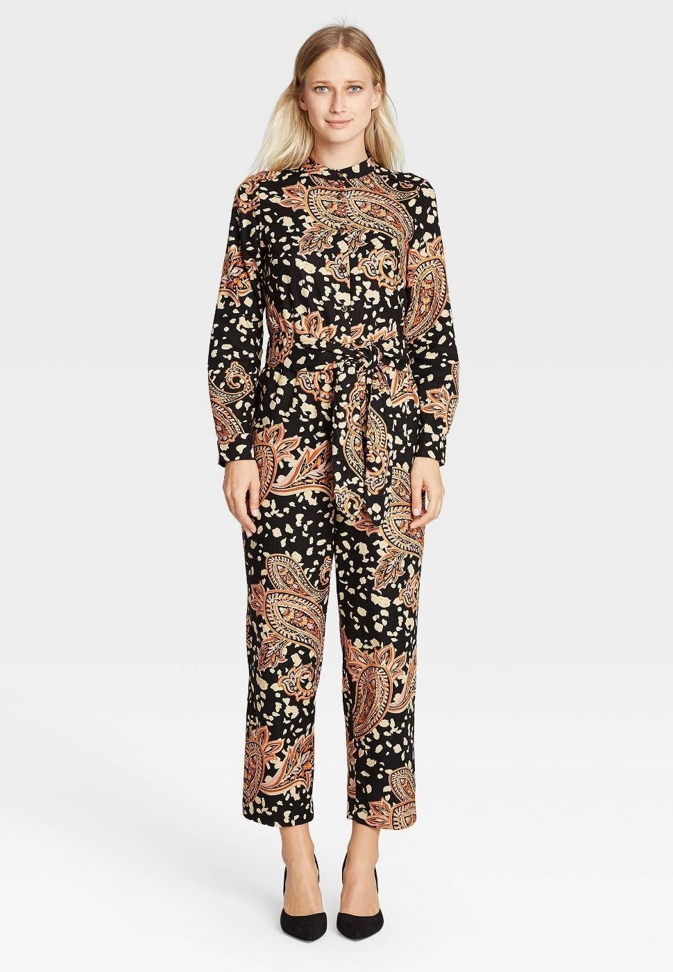 Model in printed jumpsuit