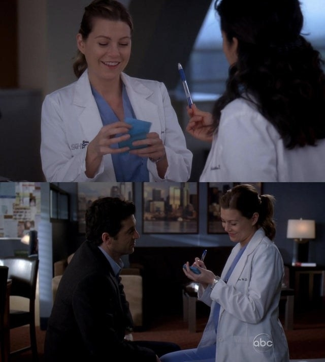 Meredith and Derek writing their vows on a post-it note.