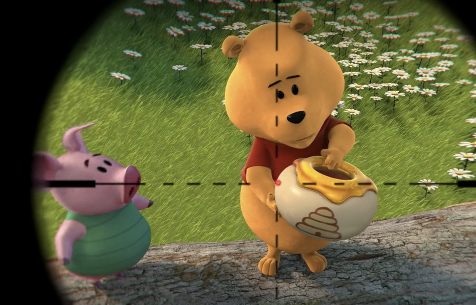 Piglet standing next to Pooh, who's holding honey