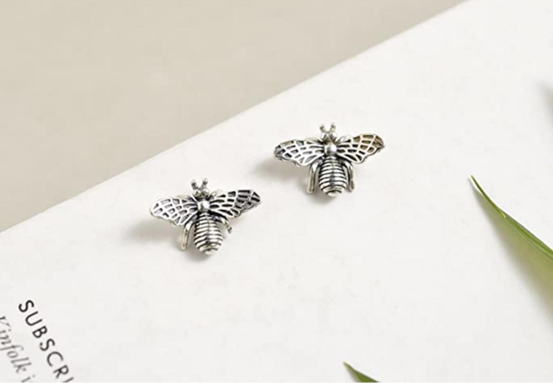 Silver bee shaped stud earrings