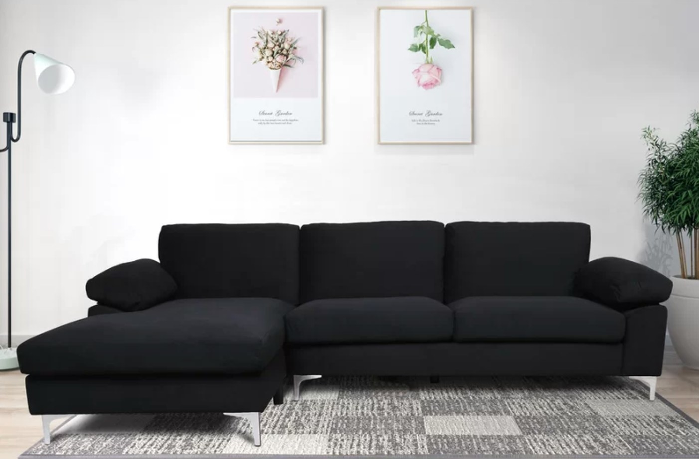 The left-handed sectional in black
