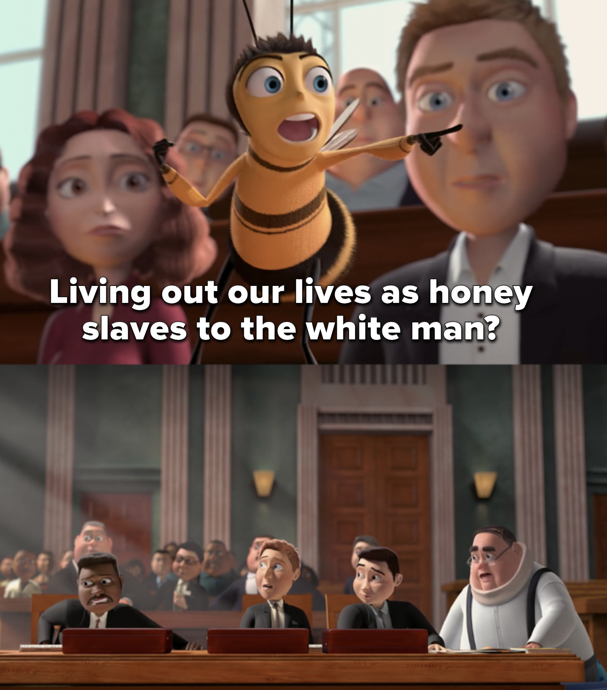 Barry asks if bees should spend their lives as slaves to the white man and points at lawyers