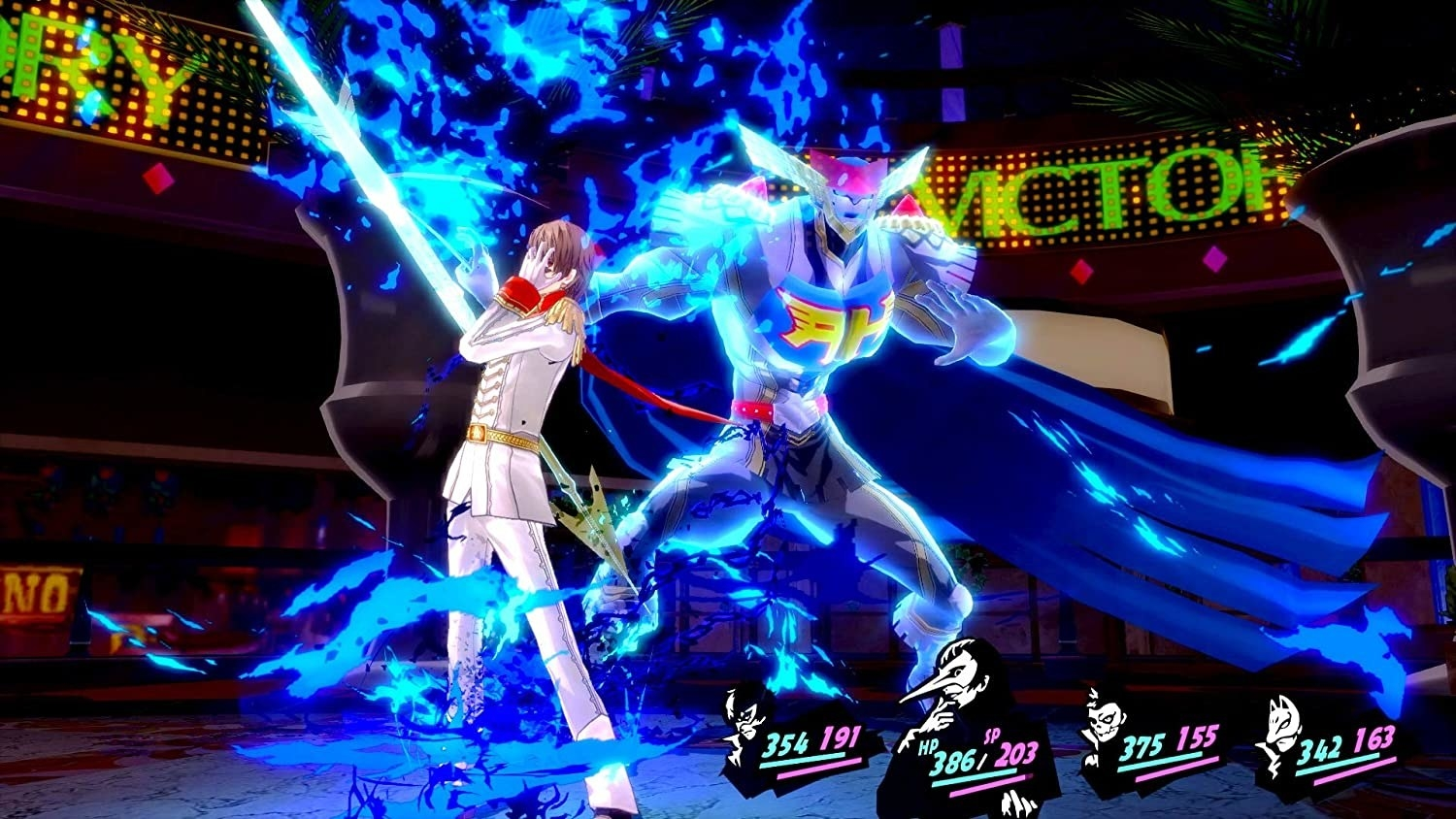 Two characters mid battle