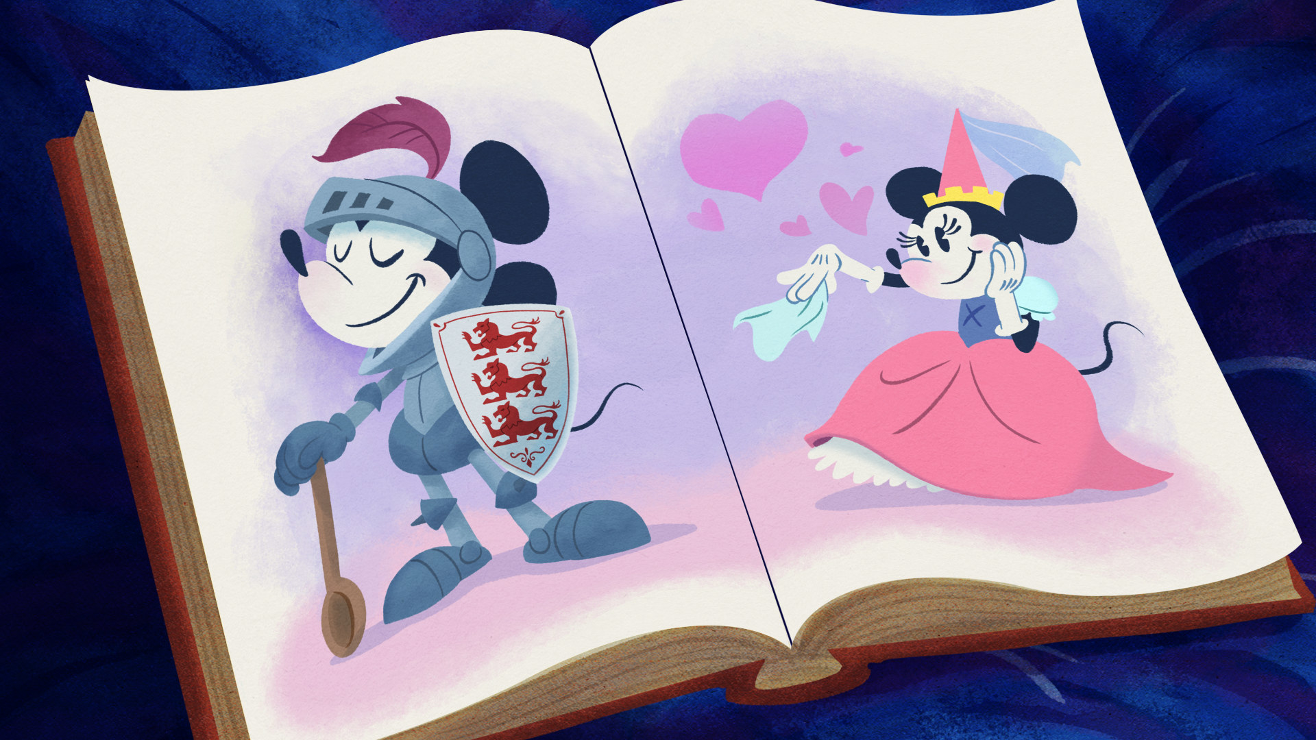 A fairytale book open with Mickey as a knight on one side and Minnie as a princess on the other