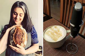 to the left: claire saffitz holding bread, to the right: a handheld frother and foamy drink