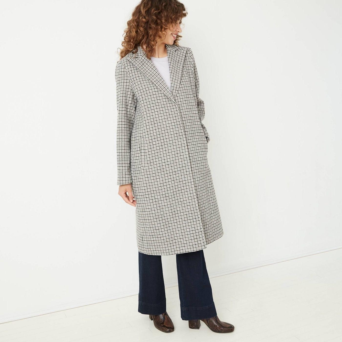 Model in overcoat
