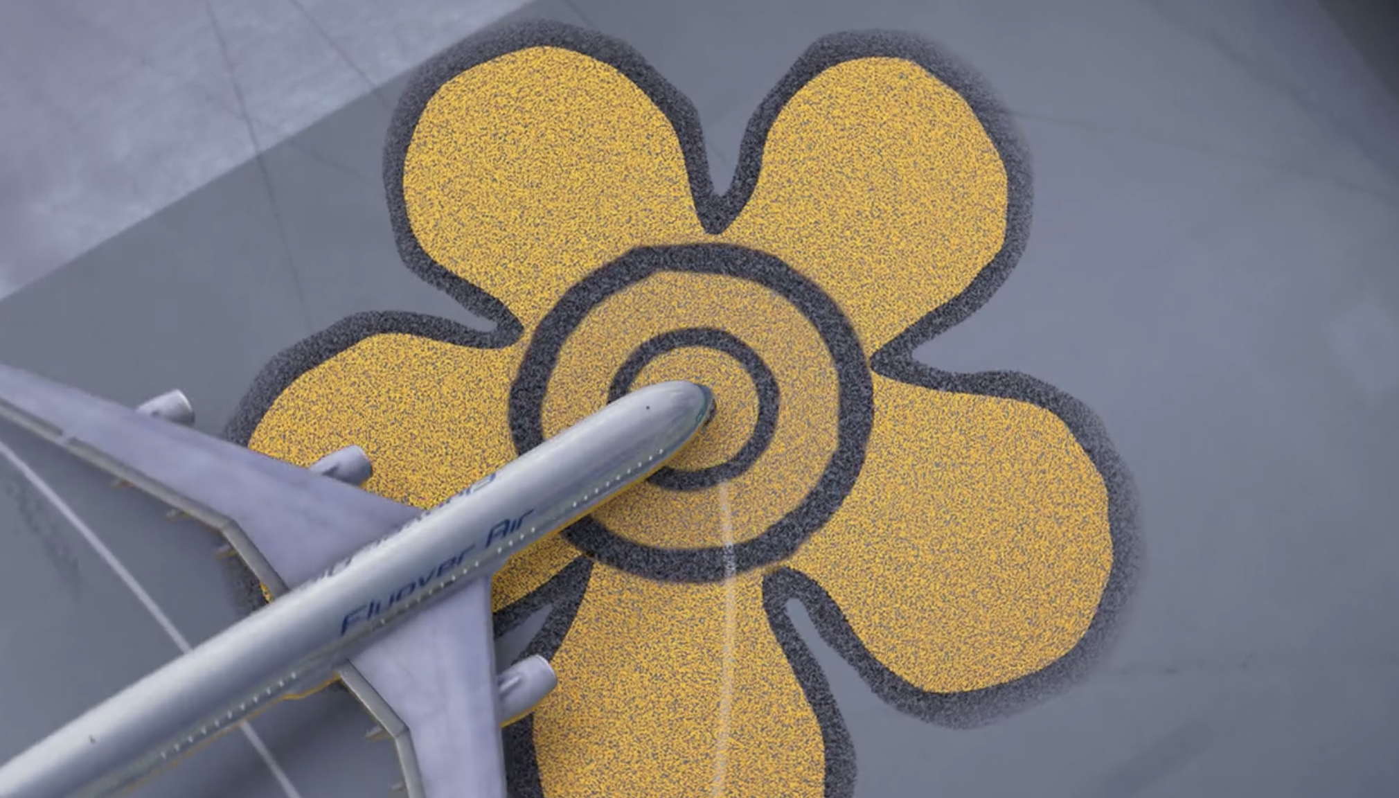 the plane lands on the flower