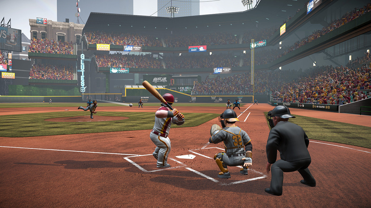 Stout little cartoon men play baseball in a packed stadium