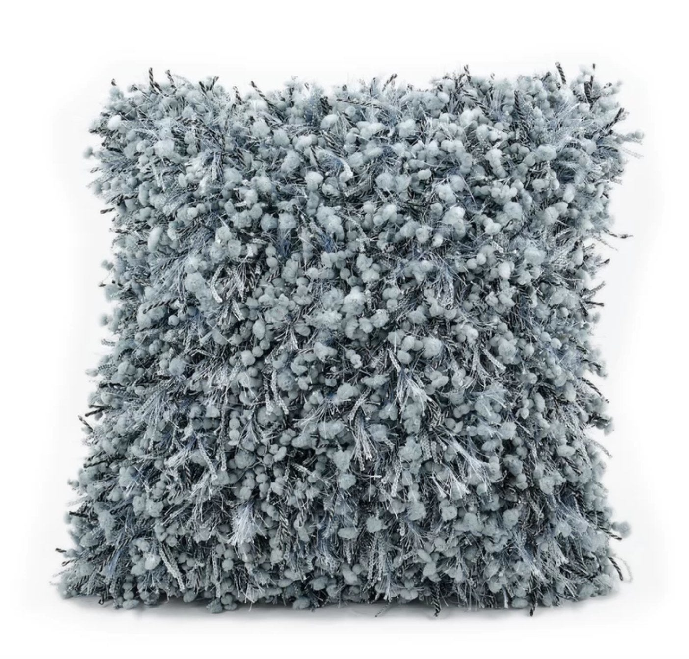 The fuzzy throw pillow in blue