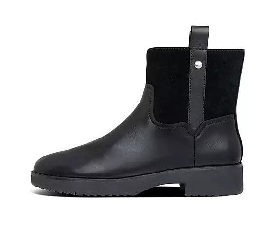 Black flat ankle-height boots