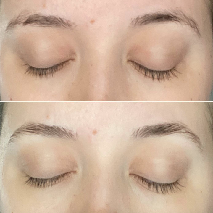 before and after photo of reviewer with groomed brows