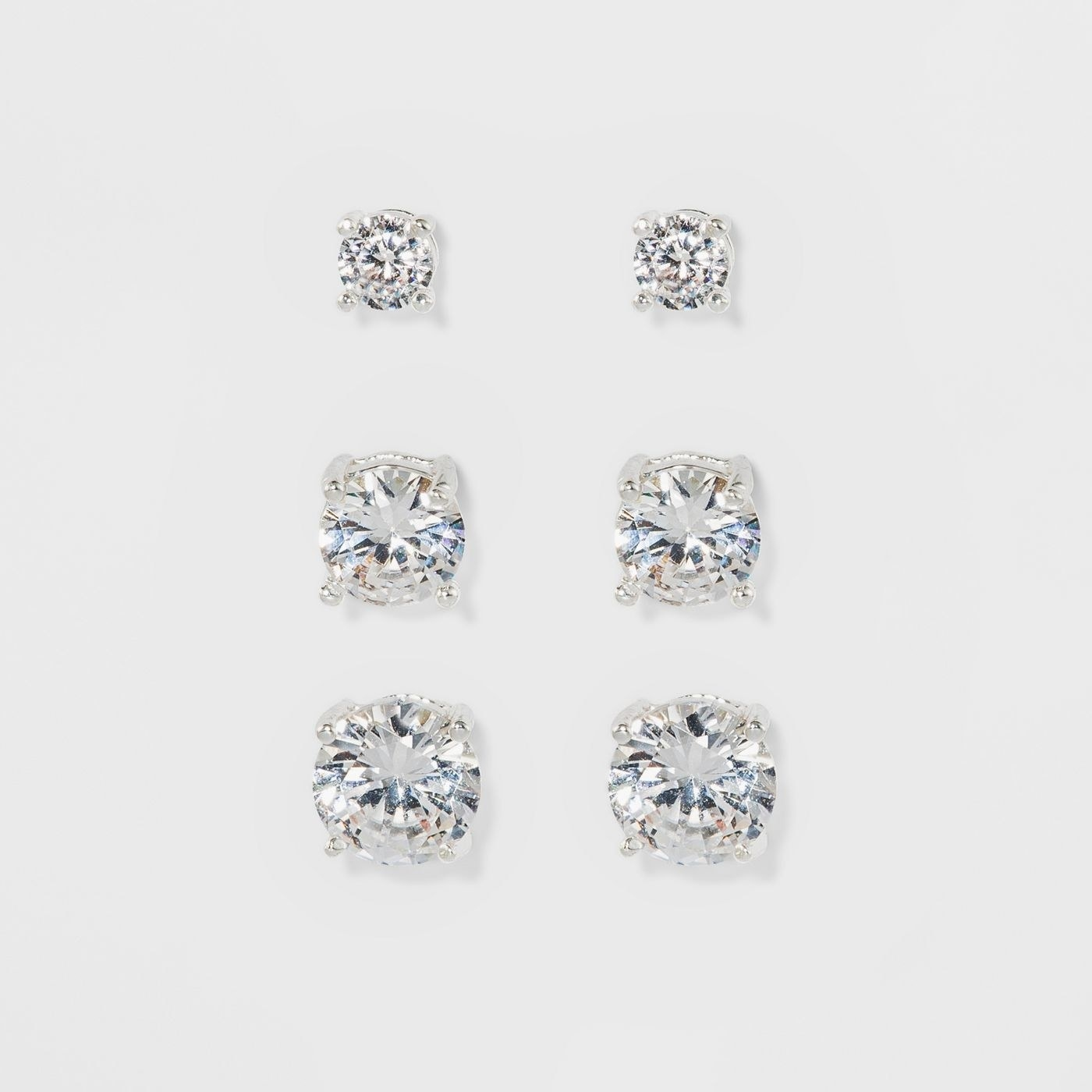 Set of 3 crystal round stud earrings