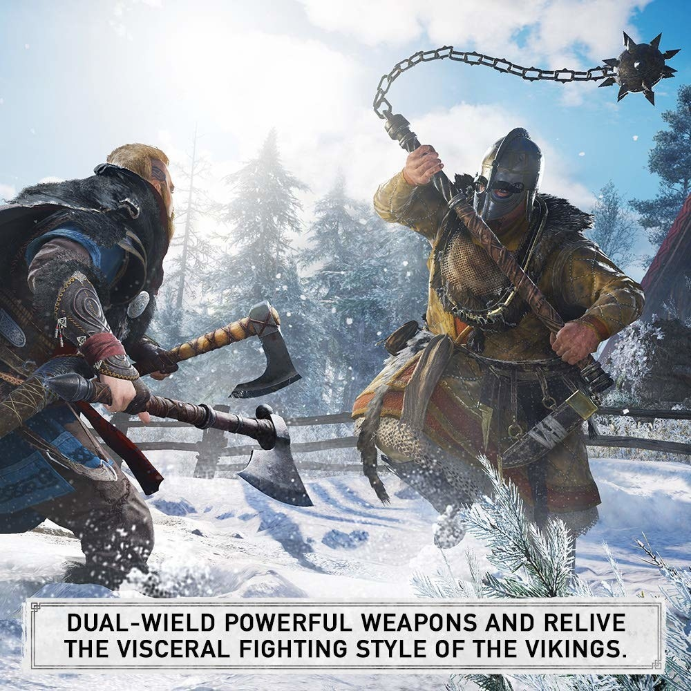 "Vikings in combat with the text ""Dual-weird powerful weapons and relive the visceral fighting style of the vikings"""