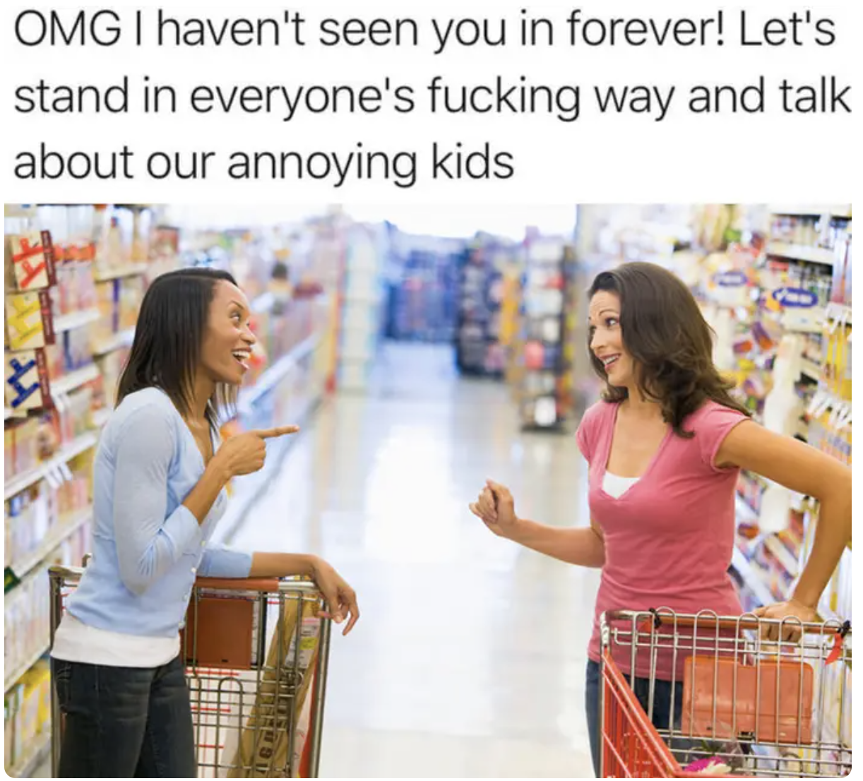 two people chatting in an aisle