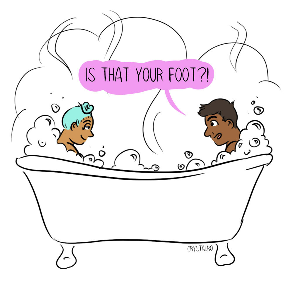 "Drawing of a couple in a bathtub and one person saying, ""Is that your foot"""
