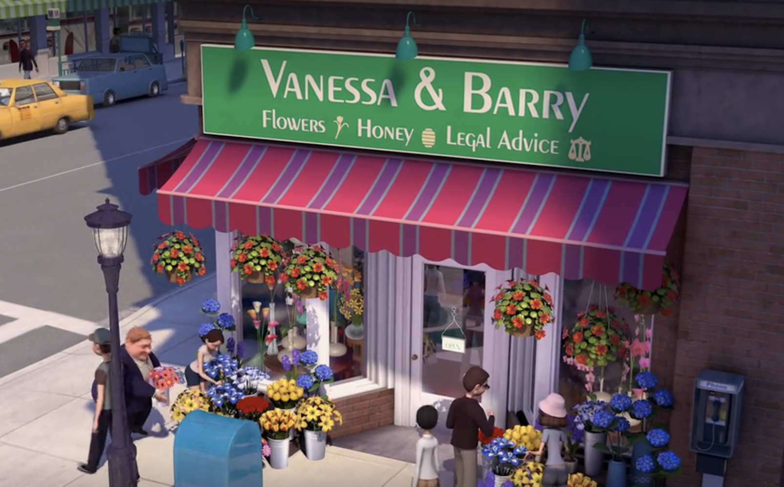 """Vanessa's flower shop, now with the sign """"Vanessa and Barry, flowers, honey, and legal advice"""""""