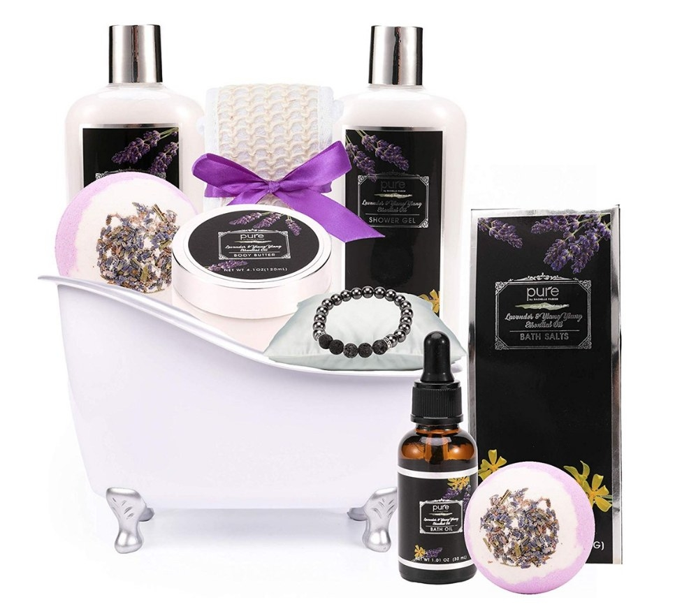 Bath tub shaped basket with lavender oil spa products