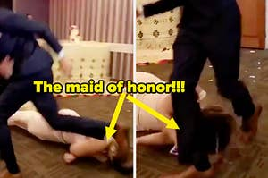 Maid of honor dancing drunk and falling