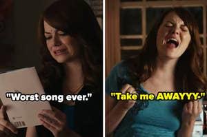 "Emma Stone: ""Worst song ever"" alongside her belting out ""Take me awayyyy"""