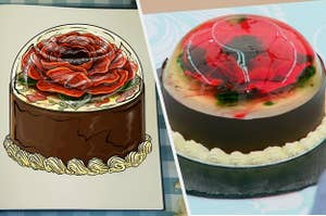 Hermine's bake side-by-side with the drawing
