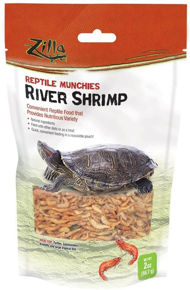 package of dehydrated shrimp for turtles