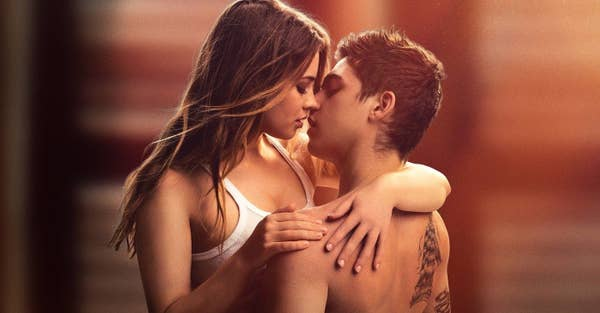 Tessa Gray (Josephine Langford) and Hardin Scott (Hero Fiennes Tiffin) share a passionate embrace.