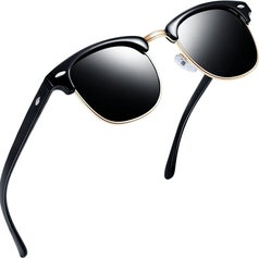 the black rimless sunglasses with gold accents