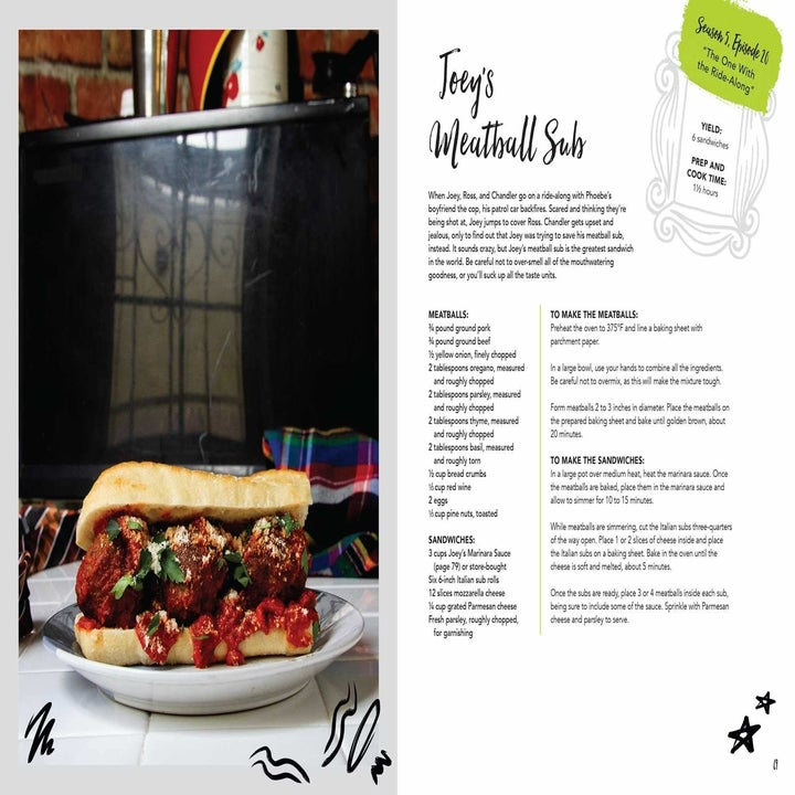 A look inside the book with the recipe for Joey's meatball sub and a picture of it on the left side