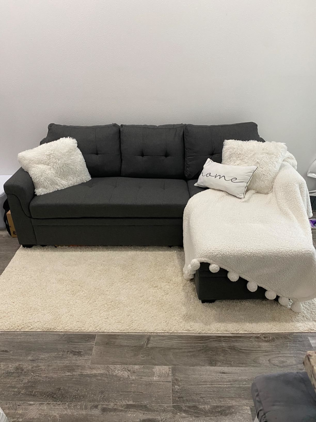reviewer image of the bowery hill steel grey couch in a living room