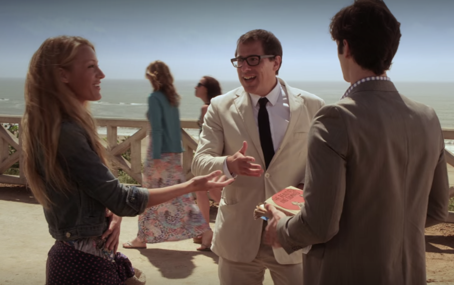 Serena talks to David O'Russell by the beach