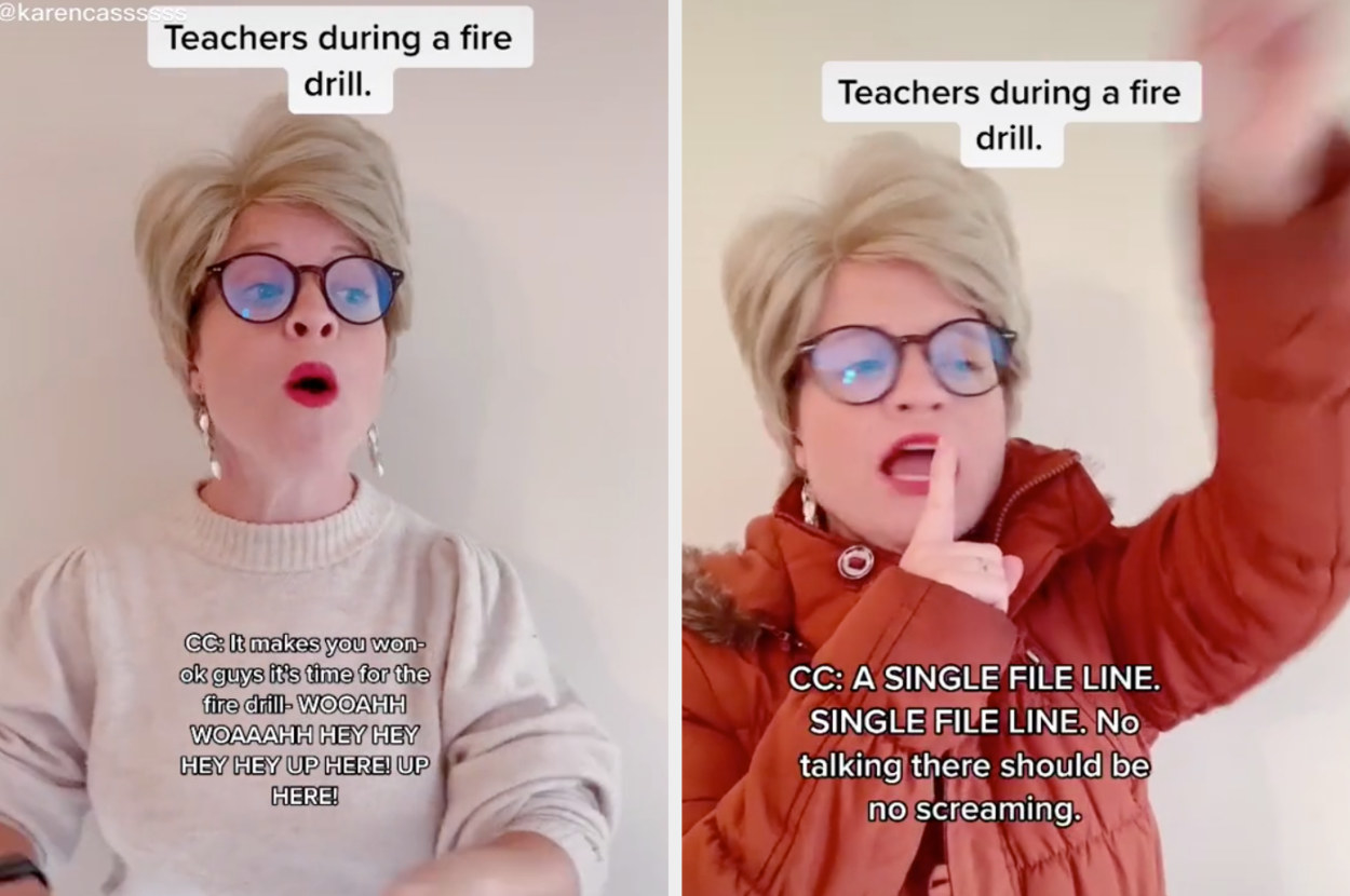 This person pretends to be a teacher trying to keep the peace as kids scream during a fire drill