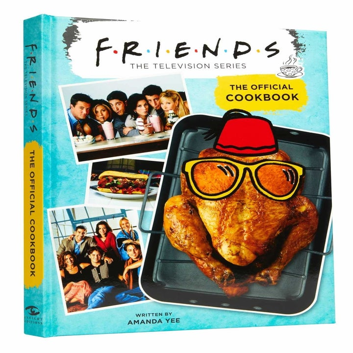 The cookbook with a turkey on it and pictures of the friens cast