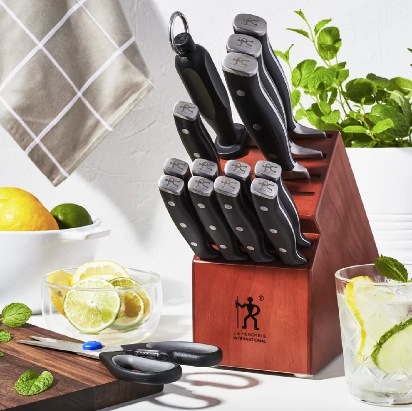 The 15 piece knife set in a wood block