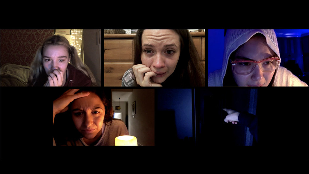 A group of girls during a video call in Host