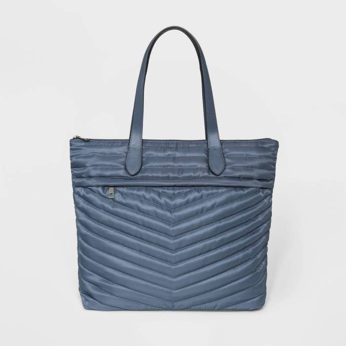 Blue quilted tote bag