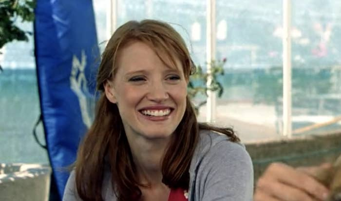Jessica as Sarah smiling outside