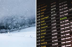 On the left, a blustery blizzard on a mountain, and on the right, a departures board at an airport